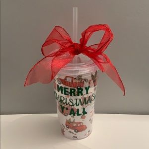 Merry Christmas Y'all red truck Christmas tumbler